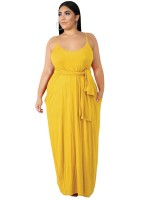 Fitted Yellow Queen Size Dress Plunge Neck Pocket Feminine Grace