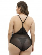Black Plus Size Sheer Lace Embroidery Sling Teddy