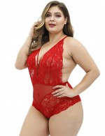 Red Large Size Lace Patchwork Plunge Collar Sling Teddy