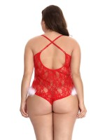 Red Christmas Lace Plus Szie Teddy Lingerie Private Fashion