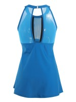 Bright Lake Blue Large Size Tankini Halter Neck Forward