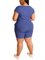 Elegant Blue Queen Size Top Stripe Print Shorts Set Nice Quality