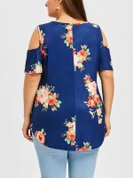 Sexy Ladies Blue Cold Shoulder Big Size Top Cross Strap Online