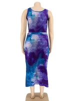 Dressy 2 Piece Strap Top Tie-Dyed Skirt Form Fitting