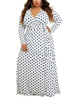 Surfing Polka Dot Printed Plus Size Maxi Dress Online Sale