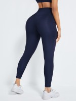 Navy Blue Front Hook High Waist Shapewear Leggings Good Elastic