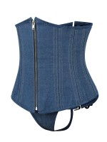 Blue Underbust Corset Lace-Up With Thong Superior Quality