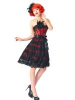 Cellulite Reducing Red 14 Plastic Bones Corset Dresses Strapless