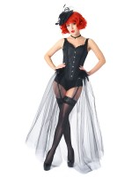 Perfect Curves Black Feather Gauze Hem Corset With Pantie Set