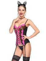 Evening Rose Red Leopard Patchwork Corset G-String Mesh Comfort