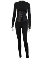 Black Zip Neckline Solid Color Jumpsuit Corset Suit Elastic Material