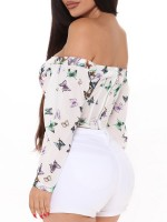 White Butterfly Pattern Corset Off Shoulder Zipper Midsection Control