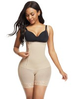 Skin Color Underbust Zipper Hourglass Body Shaper Lace Trim Slimmer