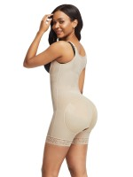 Skin Color Full Body Shaper Lace Trim Front Zipper Smooth Abdomen