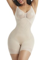 Desirable Designed Complexion Lace Trim Full Body Shaper Open Crotch