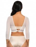 High-Compression White Mesh Shaping Crop Top Plunging Neck