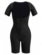 Plus Size Tummy Control Black Zipper Elastic Short Sleeve Neoprene Bodysuit