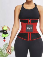 Red 10 Steel Bones Neoprene Waist Trainer With Belt Fat Burning
