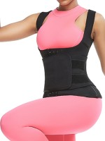 Black 3-Row Hooks Neoprene Waist Trainer Vest Basic Shaping