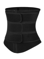 Compression Black Neoprene Zip Three-Belt Waist Trainer Slimming Stomach