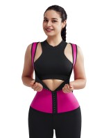 Rose Red 3 Layers Sweat Vest Waist Trainer Hooks Slimming Tummy