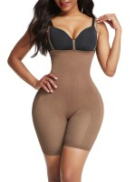Light Brown Adjustable Straps Seamless Shapewear Shorts Good Elastic