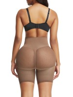 Exquisite Light Coffee Color Butt Enhancer Seamless Mesh Solid Color