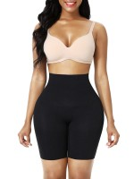Black Seamless Large Size Body Shaper Shorts Light Control