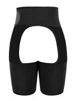 Black Neoprene Adjustable High Waist 2-In-1 Shapewear For Thigh