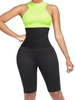 Green Neoprene Shorts Shaper With Waist Belt High Compression