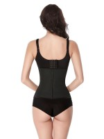 Black 7 Steel Bones Zipper Latex Waist Trainer Slimming Tummy
