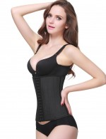 Black Latex 25 Steel Boned Waist Trimmer Tummy Training