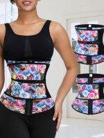 Rose Print Latex Waist Cincher Double Belts Highest Compression