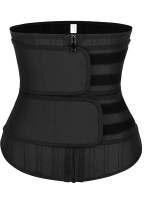 Fitted Curve Black 25 Steel Stoned Latex Waist Trainer Double Belt