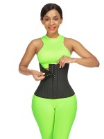 Medium Control  Black 29 Steel Bones Latex Hooks Waist Trainer