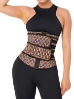 Tummy Trimmer African Print Latex Waist Trainer Double-Belt