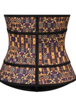 Moderate Control Zipper African Printing Latex Waist Trainer