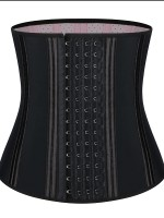 Black 20 Steel Bones Latex Waist Cincher Hook Waist Control