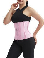 Pink 4 Rows Hook Waist Cincher Three-Layer Shaping Comfort