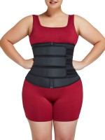 Control Midsection Black Plus Size Three Detachable Belts Waist Trainer