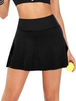 Exquisitely Black Perforated Hem Tennis Skirt Pocket Breath