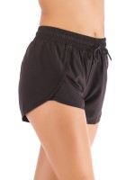 Attactive Black Tulip Hem Solid Color Running Shorts Workout Apparel