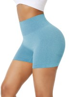 Liberty Trendy Lake Blue Solid Color High Waist Gym Shorts High Elasticity
