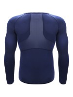 Dark Blue Crew Neck Moisture Wicking Running Top Best Workout