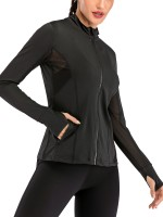 Luscious Black Thumbhole Stand-Up Collar Sports Top For Sauntering