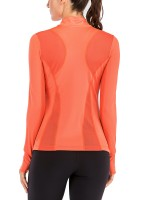 Classic Orange High Neck Running Top Long Sleeve Zipper For Hanging Out