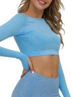 Quick Drying Light Blue Seamless Thumbhole Athletic Cropped Top
