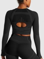 Sweet Fantasies Black Crew Neck Hollow Out Sports Top Weekend Time