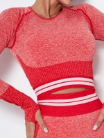 High Elasticity Red Contrast Color Yoga Top Knit Thumbhole Exercise