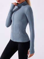 Blue Seamless Full Zip Workout Top With Thumbhole Liberty Trendy